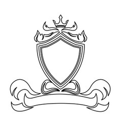 shield crown decoration royal heraldic ornament vector image