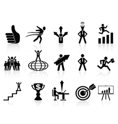 successful business icons set vector image vector image