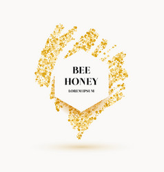 bee honey label and poster with gold glitter vector image vector image