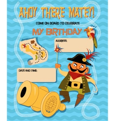 Birthday card with a cartoon pirate vector image