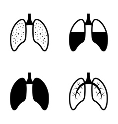 black human lung icons set vector image vector image