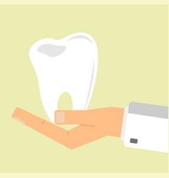 doctor hand holding human teeth healthcare vector image