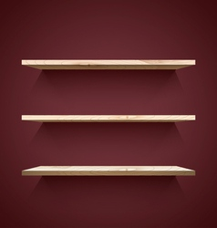 Empty wooden shelves vector image vector image