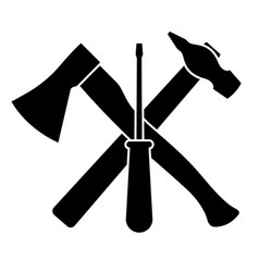 axe screwdriver and hammer on a white background vector image