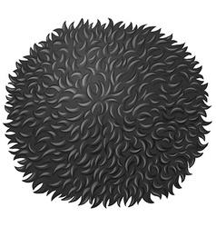 Black fluffy ball on white vector image