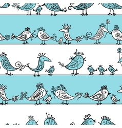 Funny birds seamless pattern for your design vector image vector image