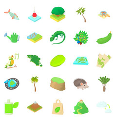 hiking trails icons set cartoon style vector image vector image