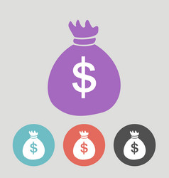money bags flat icons on color round background vector image