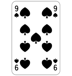 Poker playing card 9 spade vector image vector image