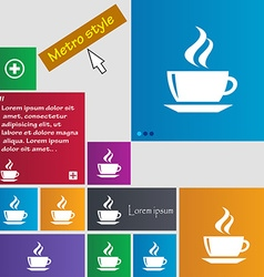 tea coffee icon sign buttons Modern interface vector image vector image