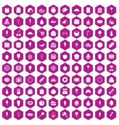 100 confectionery icons hexagon violet vector