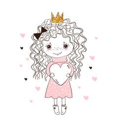 A sweet child hugs big heart little princess vector