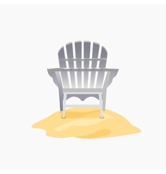 Adirondack chair standing on the yellow sand vector image