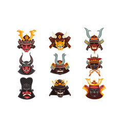 ancient samurai warrior war masks set symbols of vector image