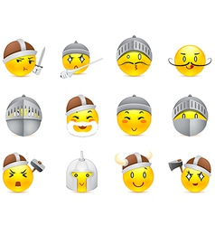 Anime smilies vikings and knights vector image