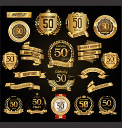 anniversary retro vintage badges and labels vector image
