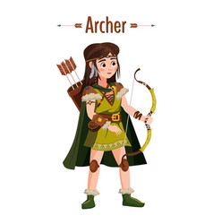 archer girl warrior with bow arrows quiver vector image