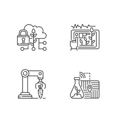 Automation agronomy linear icons set vector