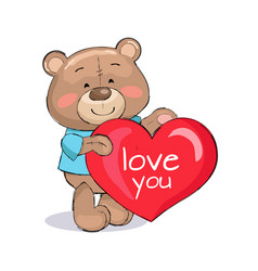 bear male holding red heart text i love you vector image