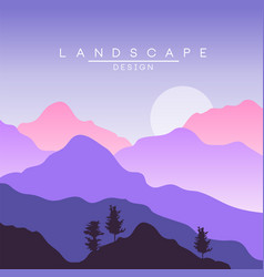 beautiful peaceful landscape in purple colors vector image