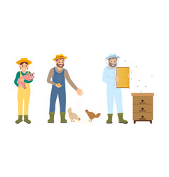 beekeeper farming people set vector image