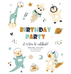 Birthday invitation cosmic card with cute animals vector