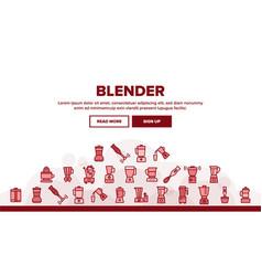 blender kitchen tool landing header vector image