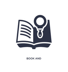 book and magnifying icon on white background vector image