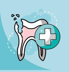 Broken tooth dentistry health care vector