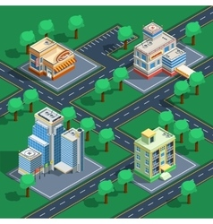 Building Isometric Set vector
