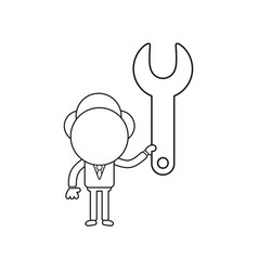 Businessman character holding spanner black vector