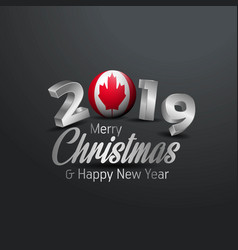Canada flag 2019 merry christmas typography new vector