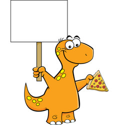 Cartoon brontosaurus holding a slice of pizza and vector