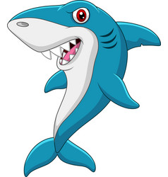 cartoon funny shark isolated on white background vector image