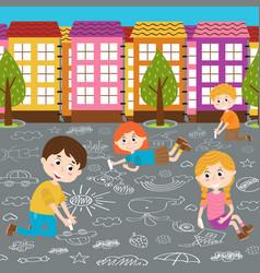 children draw on asphalt vector image