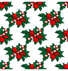 Christmas seamless pattern with candy sticks vector image