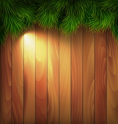 Christmas Tree Pine Branches with Light on Wooden vector