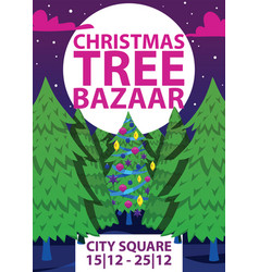 christmas winter tree bazaar sale saleable vector image
