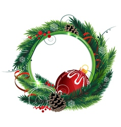 Christmas wreath with red bauble vector image