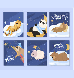 collection greeting card cartoon sleeping animals vector image