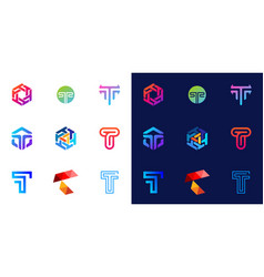 Collection logo letter t gradient color vector