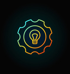 colorful bulb in gear icon vector image