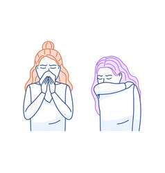 Cough sneeze into elbow flat icon sneezing woman vector