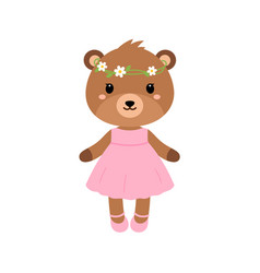 Cute bear in dress in modern flat style vector