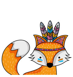 Cute fox animal with feathers decoration vector