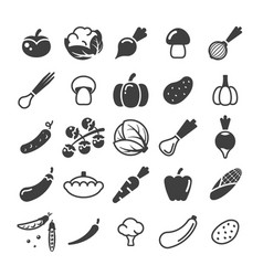 Different vegetables black glyph icons set vector
