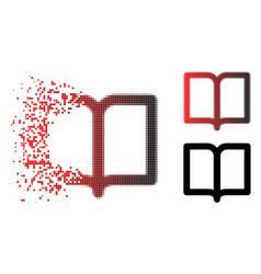 Disintegrating pixelated halftone open book icon vector