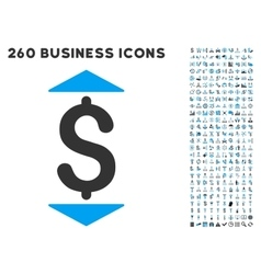 Dollar Up Down Icon with Flat Set vector