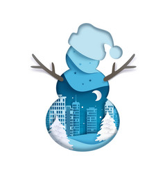 Double exposure layered paper cut snowman vector