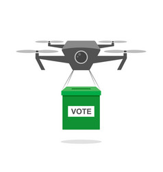 Drone delivering vote box robot carrying carton vector